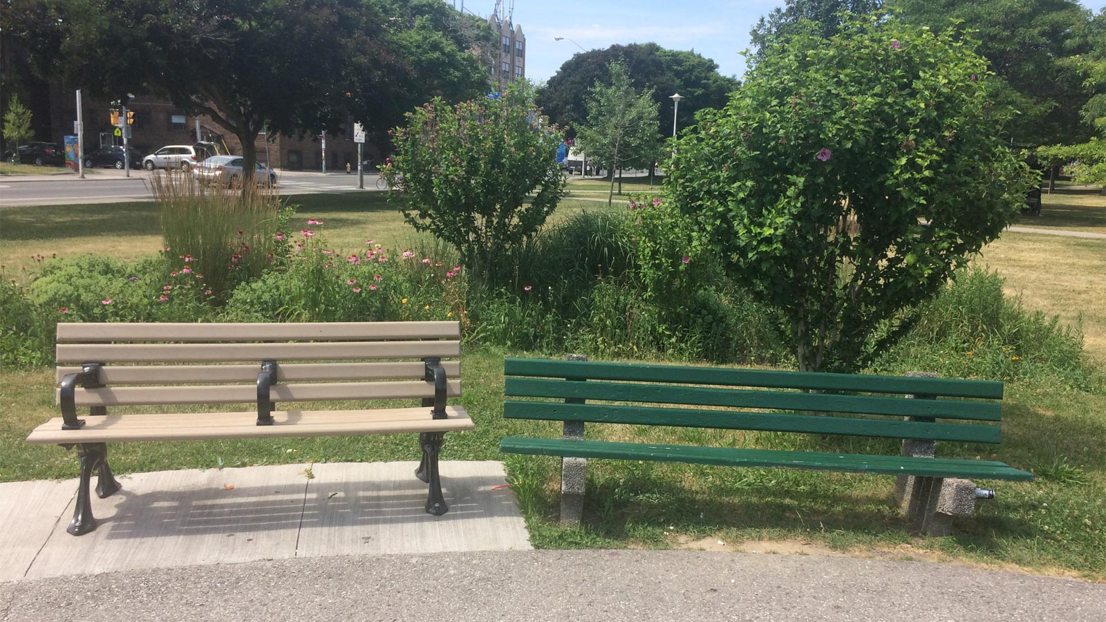 Two benches in a park, one on left has a seat armrest divider