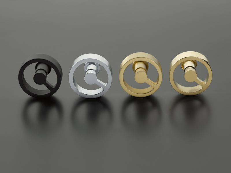 Four Emtek Spoke doorknobs in black, silver and brass (polished and satin options)