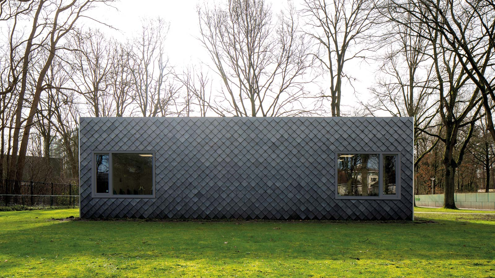 Shingles made of recycled materials on a pavilion in the Netherlands