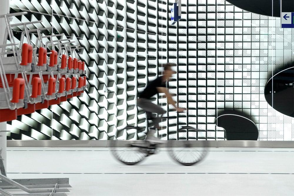 Bike Parking The Hague, one biker pictured