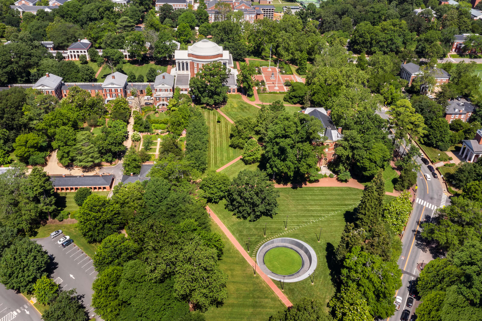 aerial shot of the Memorial to Enslaved Laborers at the University of Virginia in Charlottesville