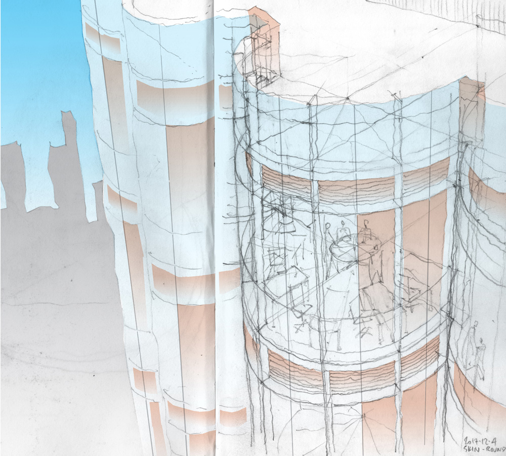Curved glass building, sketch