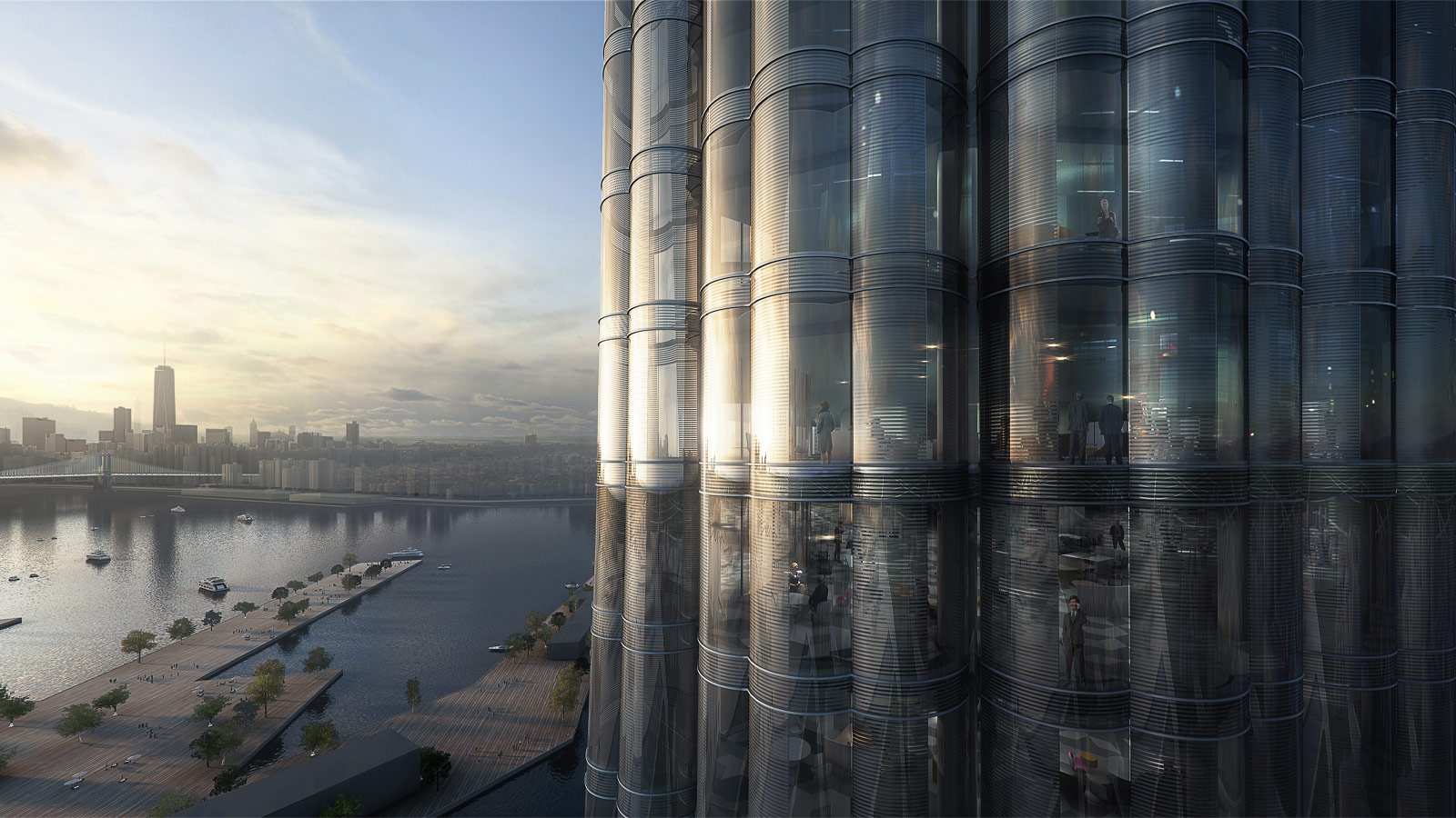 Curved glass building, conceptual image