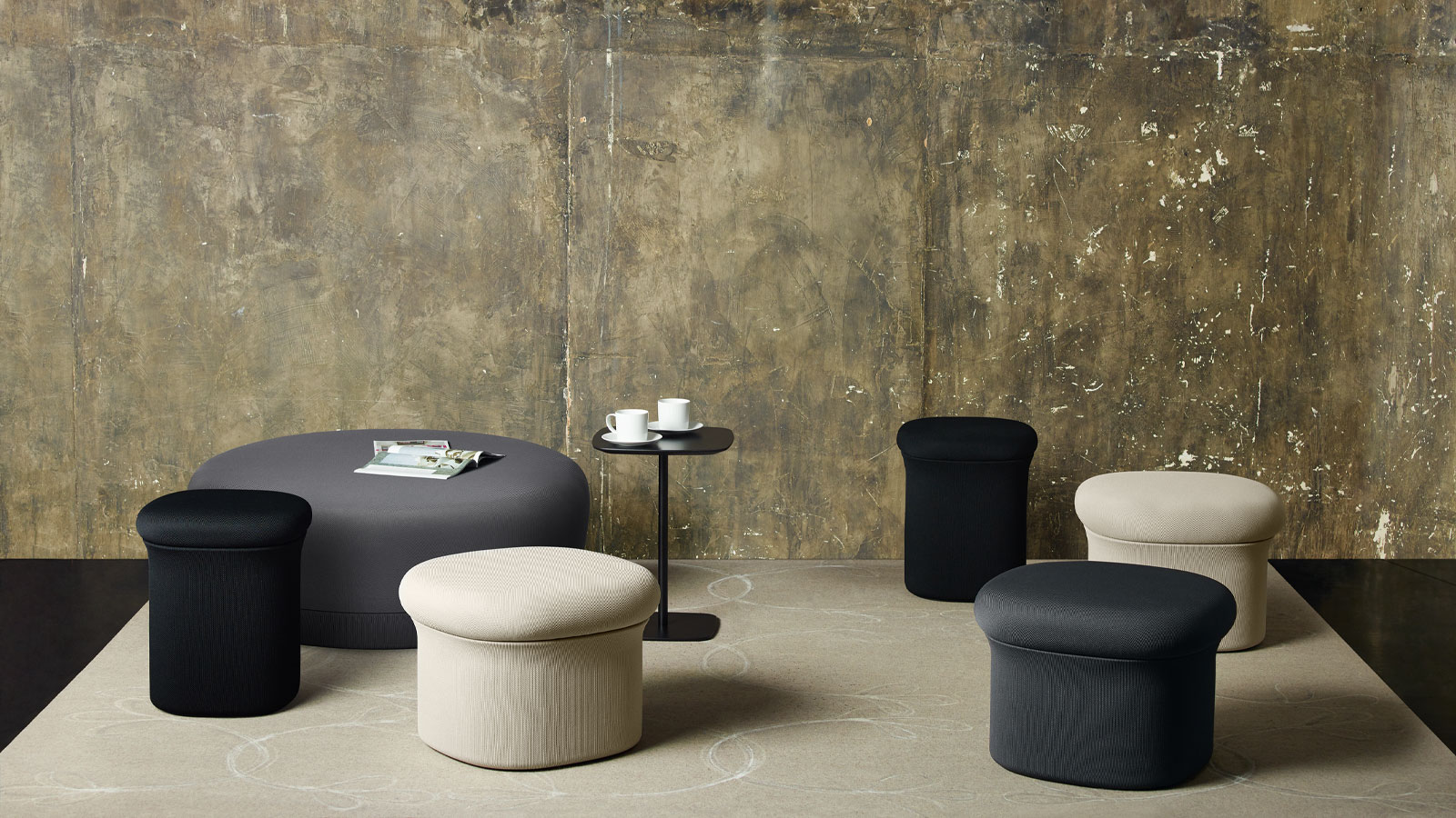 Keilhauer Doko pouffes in a display room