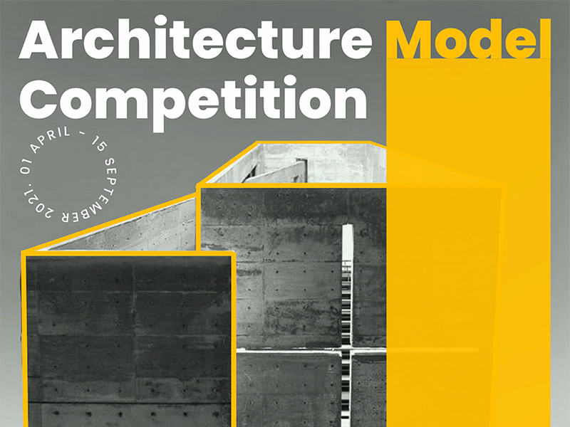 Architecture Model Competition, on top of concrete building outlined in orange