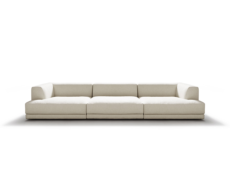 Cream Alberese three-seater sofa on white background