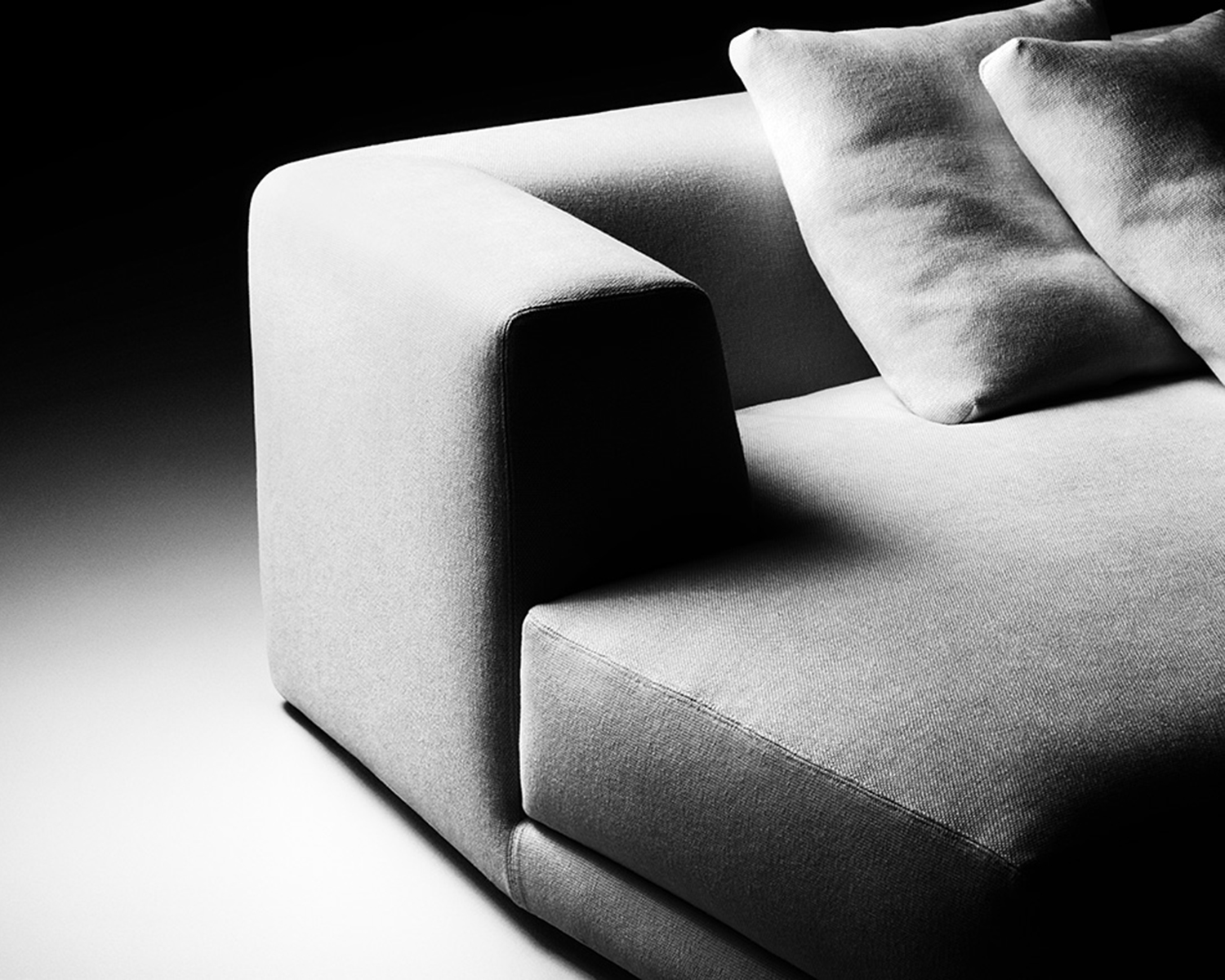 Close-up view of the sofa's armrest