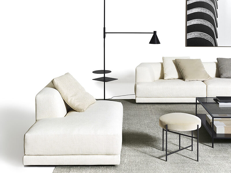 White Alberese side chaise modular component