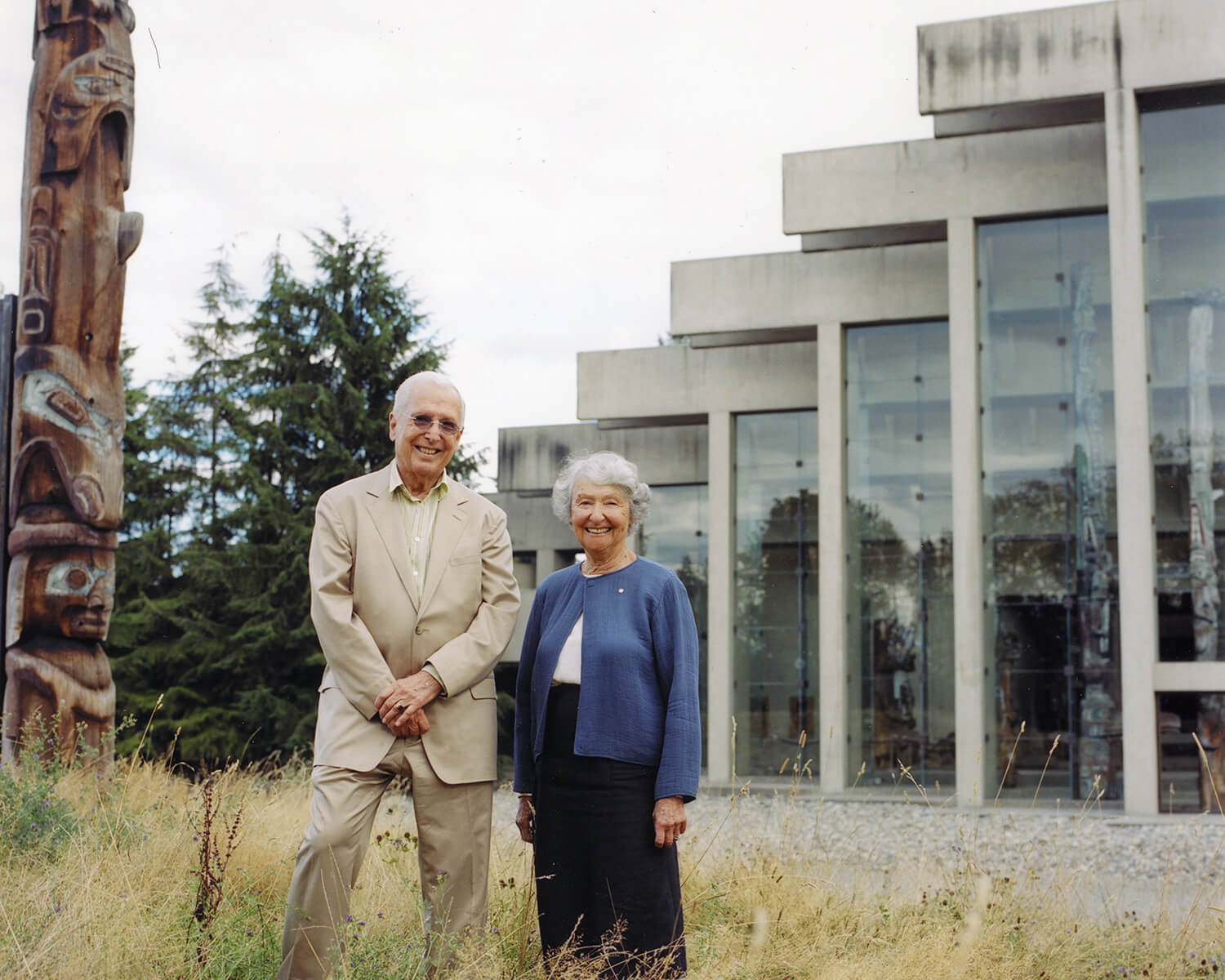 Cornelia Oberlander and Arthur Erickson outside the Museum of Anthropology at UBC