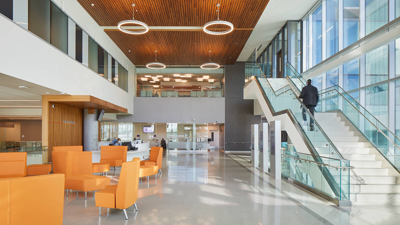 Orange River+ Lounge chairs at Cortellucci Hospital in Vaughan.