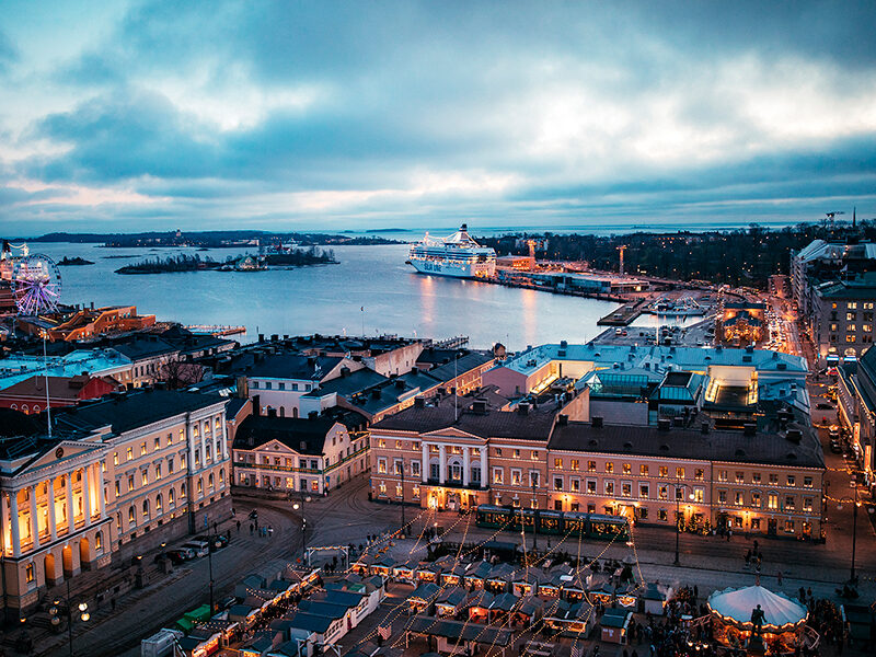View of Helsinki Harbour at night