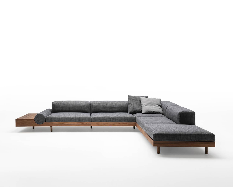 Kasbah modular sectional sofa in grey fabric