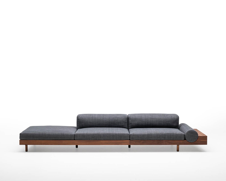 Kasbah modular open arm sofa in grey fabric