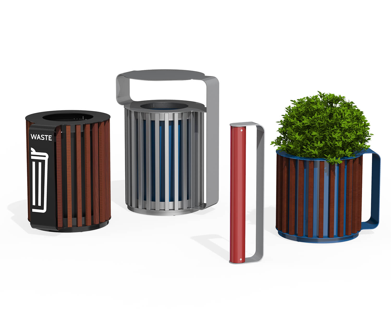 Maglin Mug planters, waste bins, and bike racks showing the range of colour and decal options