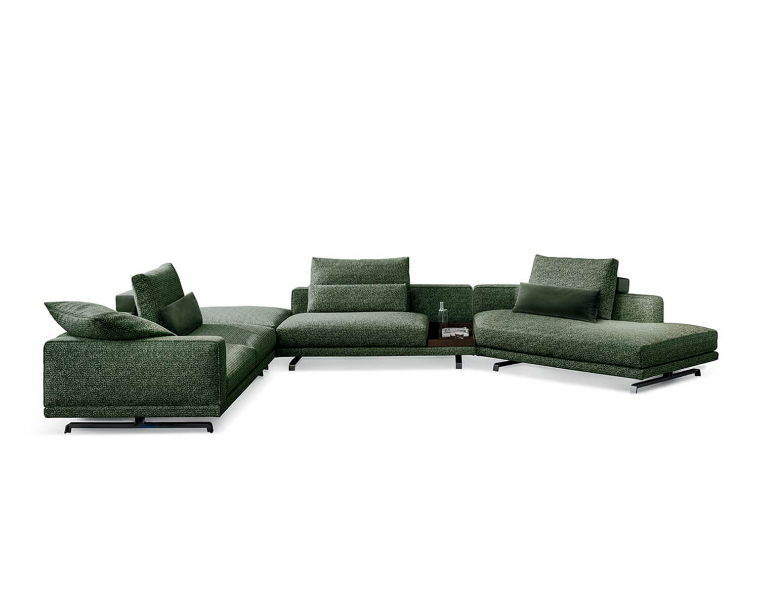Front view of green Octave modular sectional on a white background