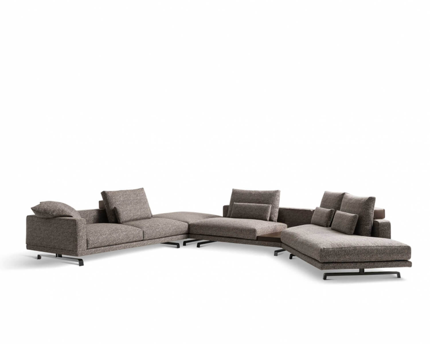 Front view of taupe Octave modular sectional on a white background