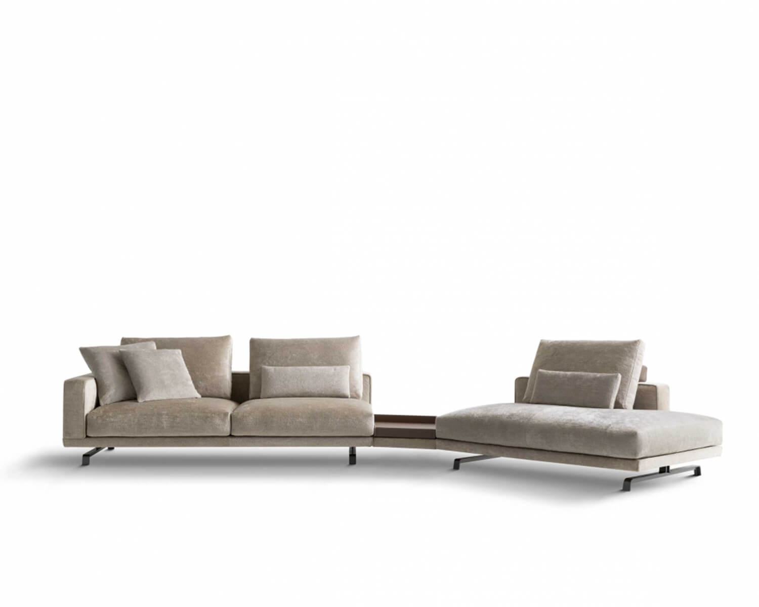 Front view of Beige Octave modular sectional on a white background