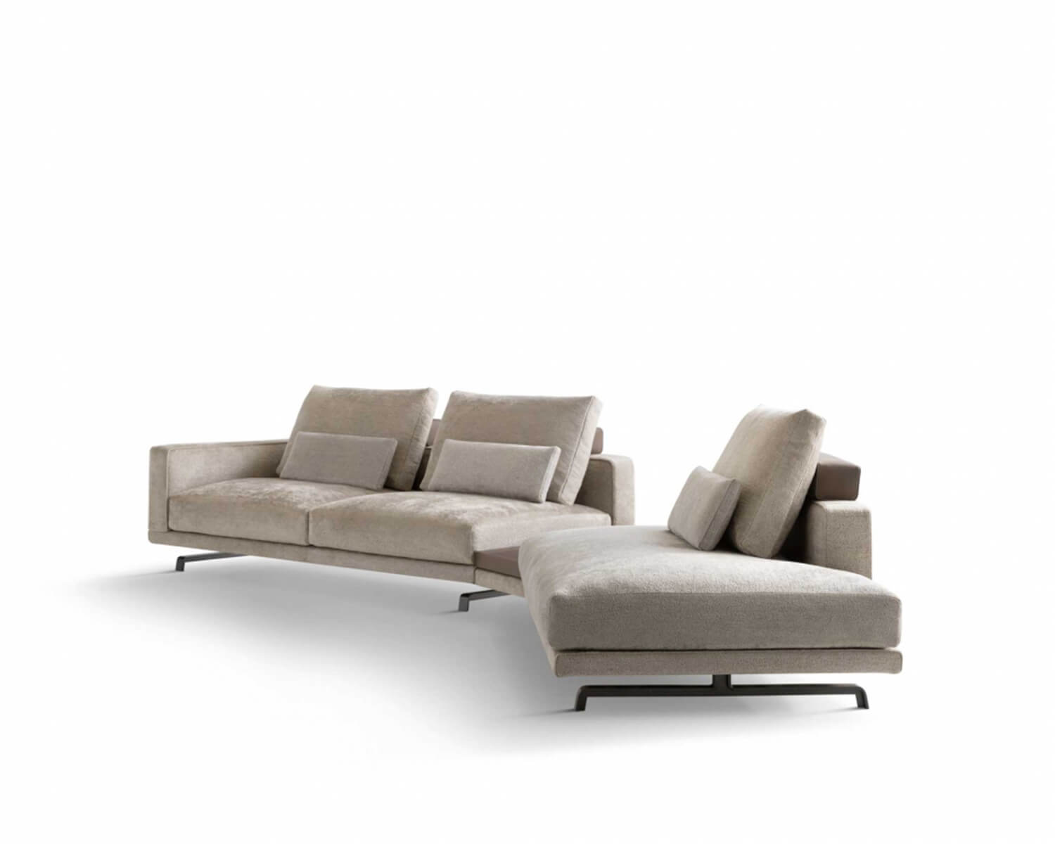 Side view of Beige Octave modular sectional on a white background