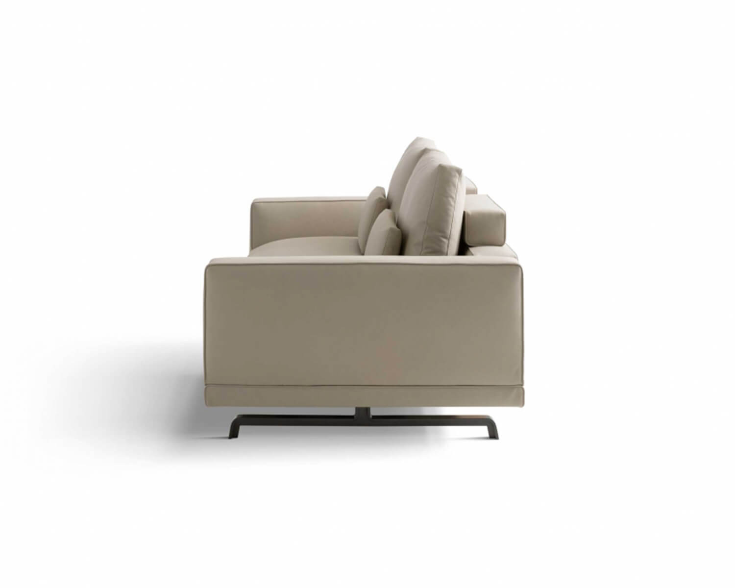 Side view of Beige Octave two-seater sofa on a white background