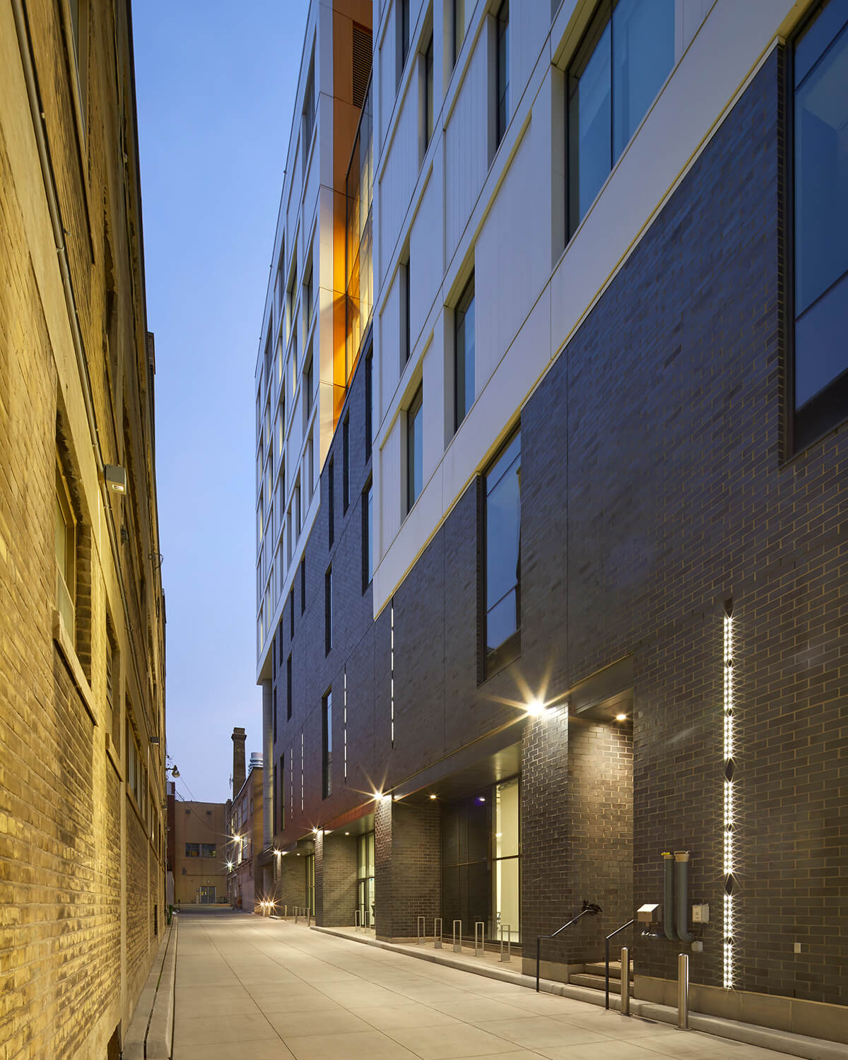 Exterior view of the building as seen from Ryerson's service laneway, repurposed as a safe pedestrian route.