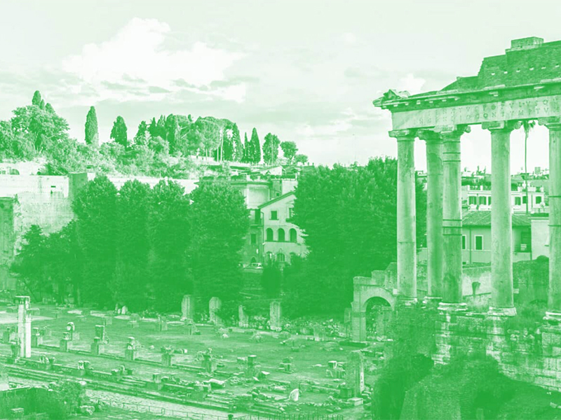 The Roman Forum with a green overlay