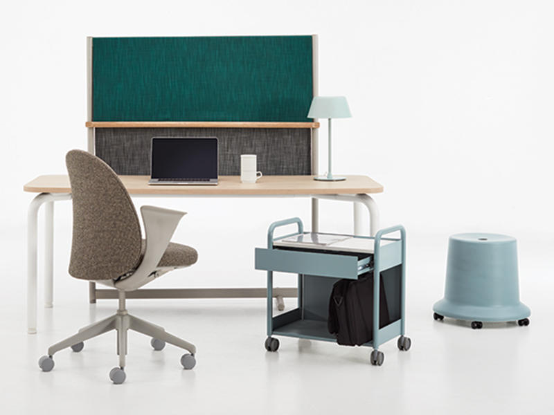 Teknion desk, chair, stools, and tote