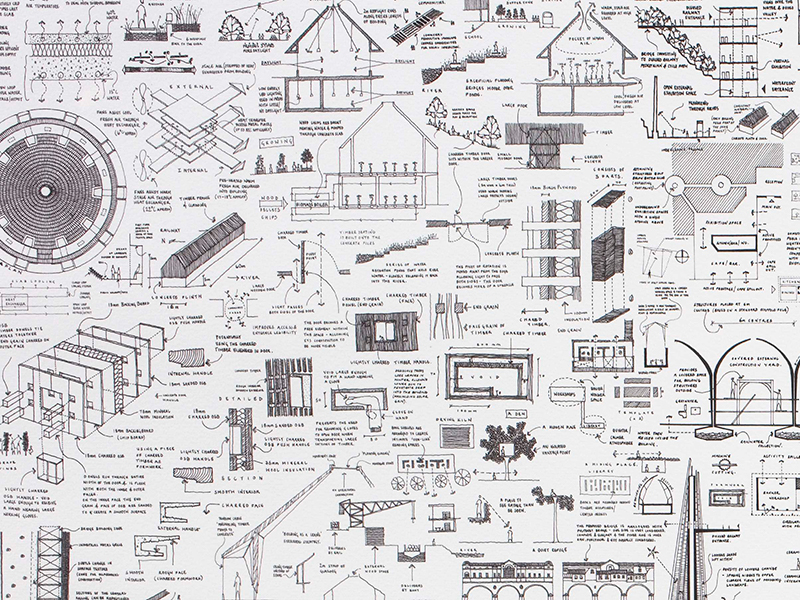 Line drawings on white background