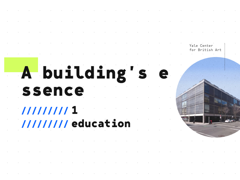 A building's essence in black text next to image of Yale Center for British Art in a circle