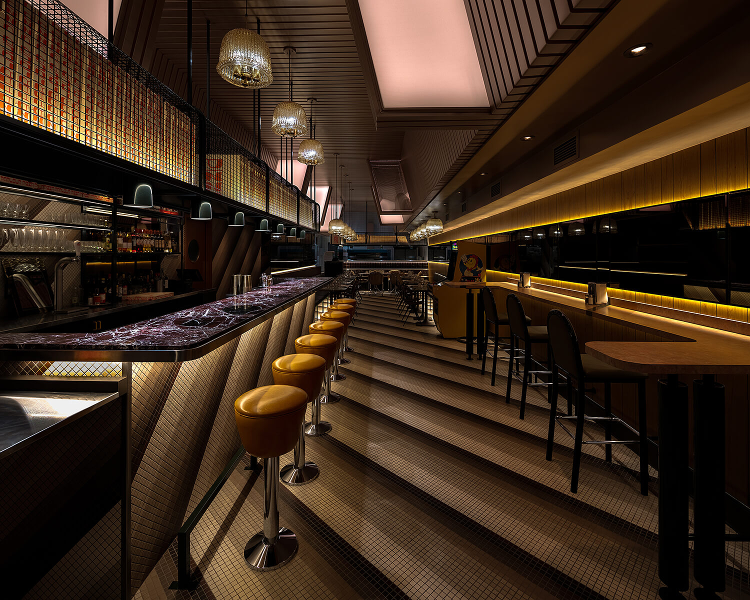 View of the bar area showing the diagonal tile pattern, vintage barstools, marble countertop, and adjacent vinyl bar