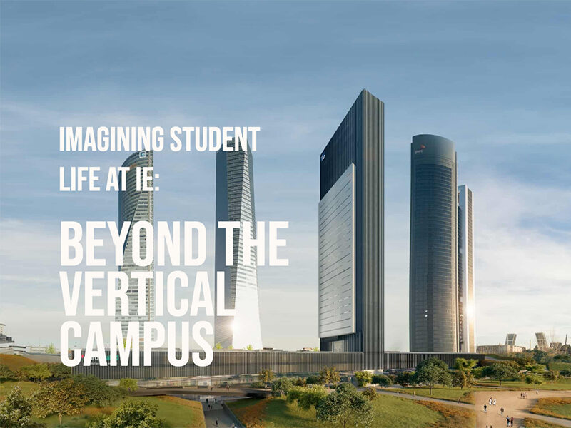 Beyond the Vertical Campus in white text on top of 4 high rise buildings with landscaped area in front