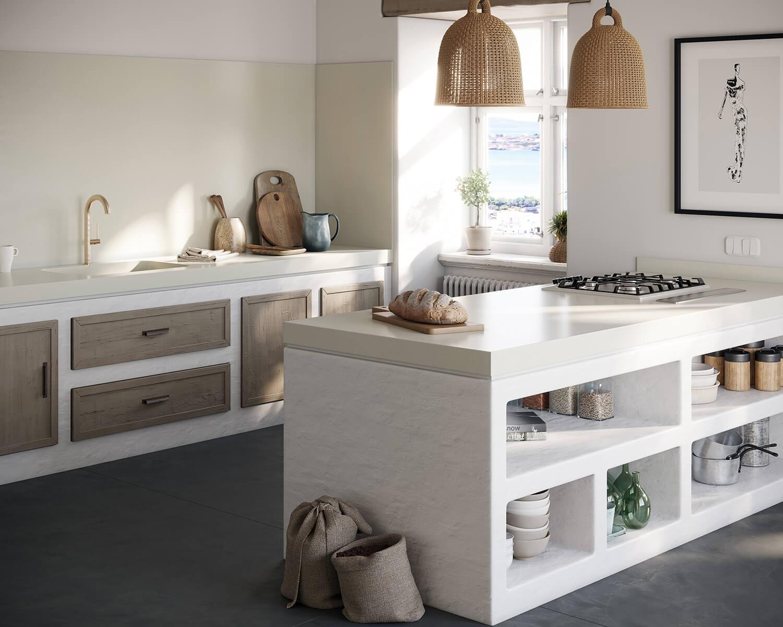 Kitchen with white Silestone countertops