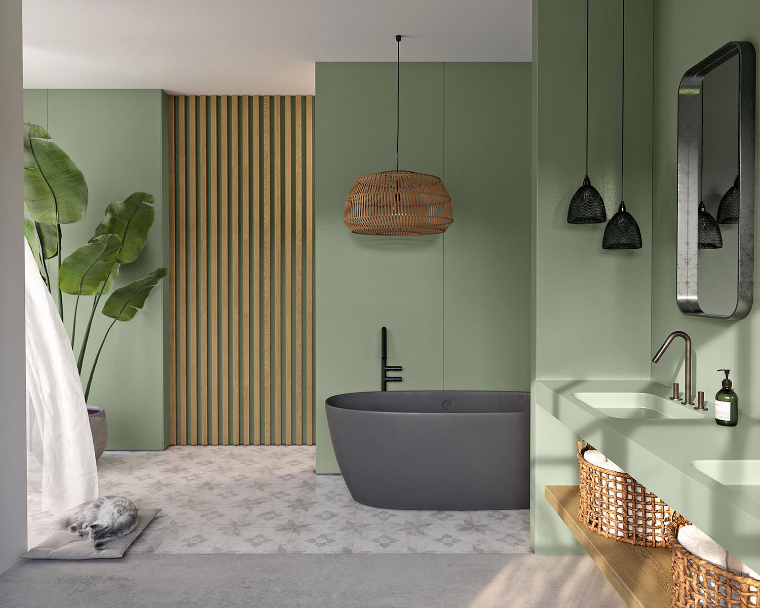 Bathroom with green walls and Silestone countertop, with grey bathtub and floors and wood/wicker accents