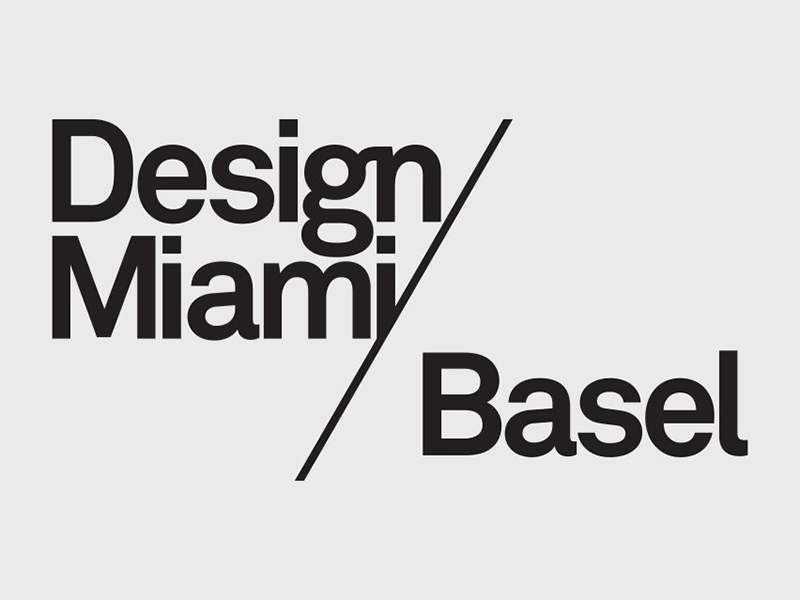 Design Miami/Basel in black text on grey background