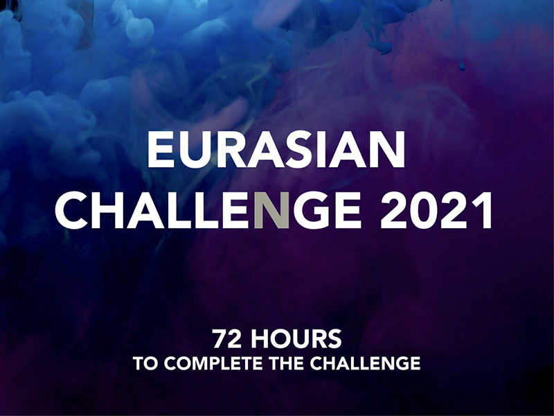 Eurasian Challenge 2021 in white text on blue background