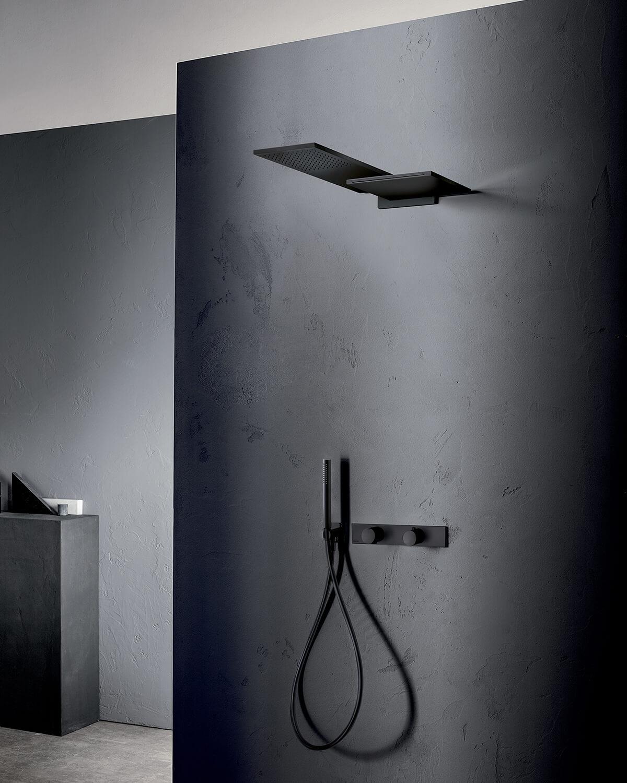 Milano, Shower Set, Matte Gun Metal, mounted on a black wall