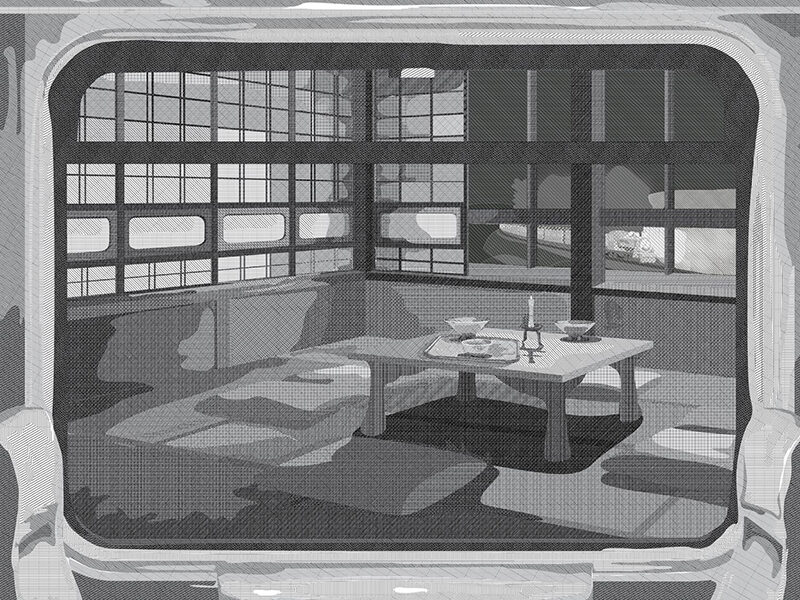 Black and white drawing of a room with windows and a coffee table with bowls on it