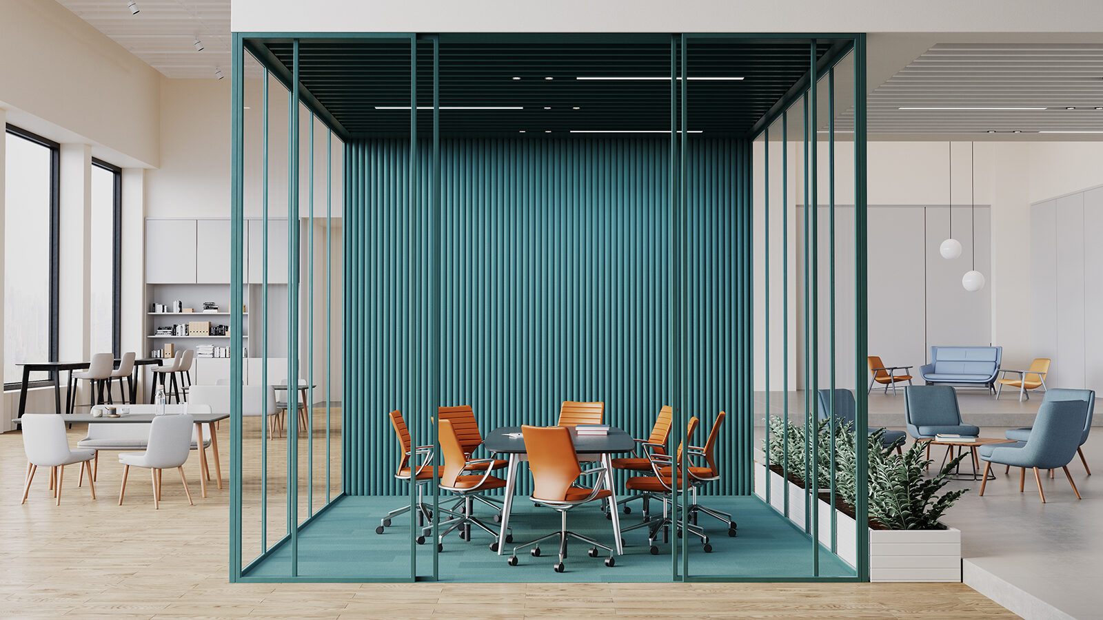Orange Swurve chairs around a black conference table in a glazed teal conference room