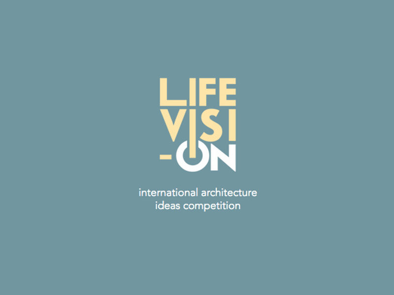 LifeVision International Architecture Ideas Competition in yellow and white text on blue background