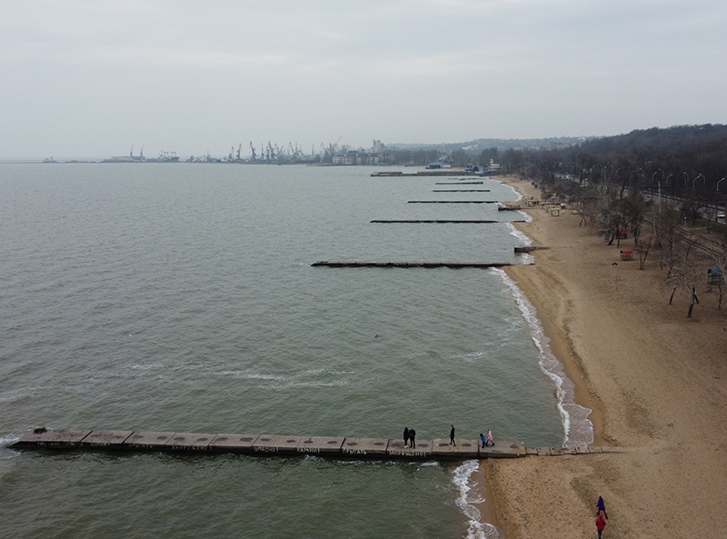 Drone image of the piers at Mariupol Central Shore