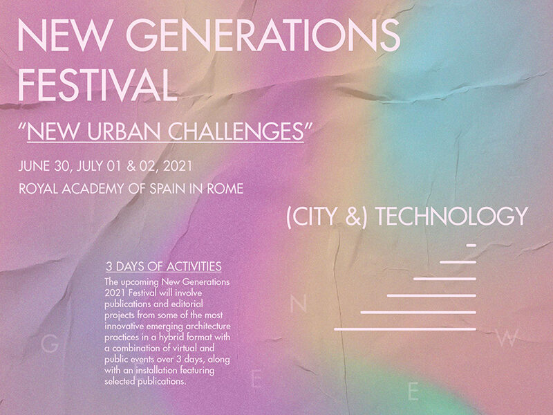 New Generations Festival on iridescent pink, yellow, blue and green background