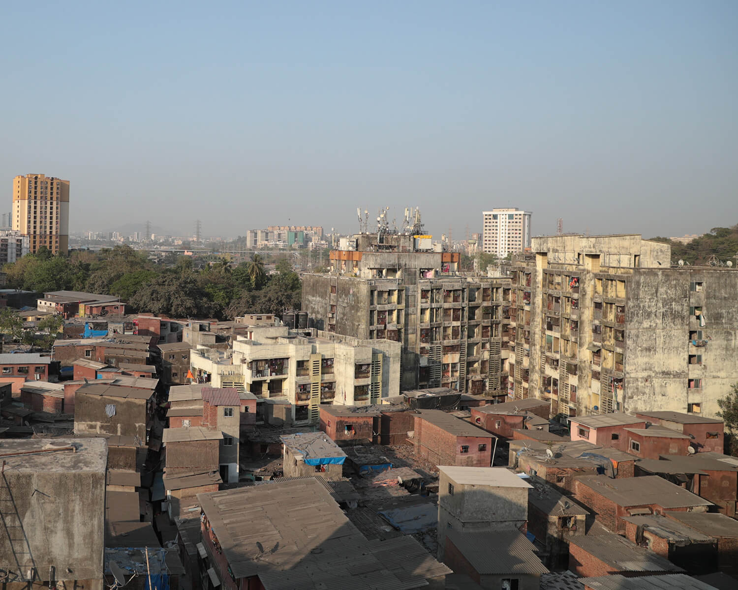 Sangam gully abutting the 90 feet road- viewed from a building top.