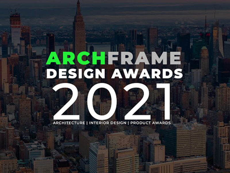 ArchFrame Design Awards 2021 overlaid on city skyscrapers