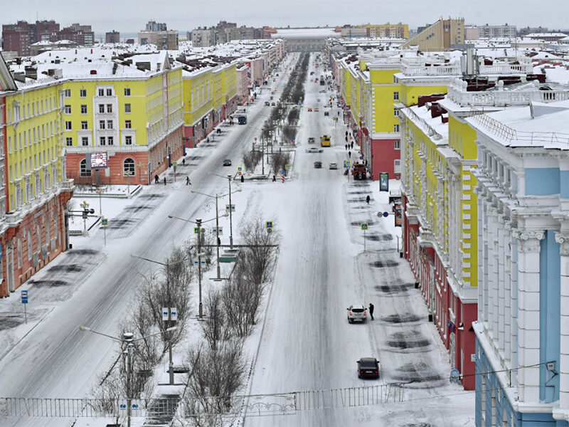 Yellow red and blue buildings in Norilsk