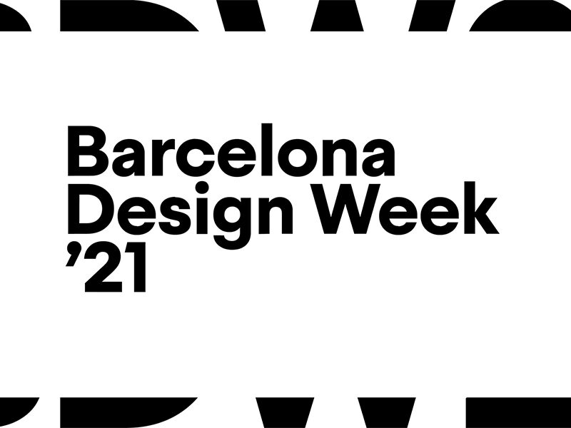 Barcelona Design Week '21 in black text on white background with black and white border