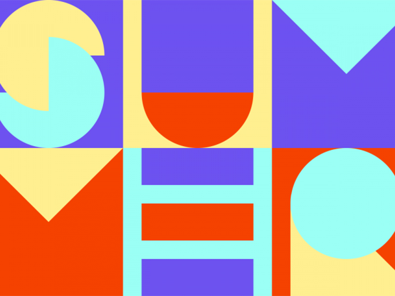 SUMMER spelled using geometric shapes in red, yellow, blue, and purple