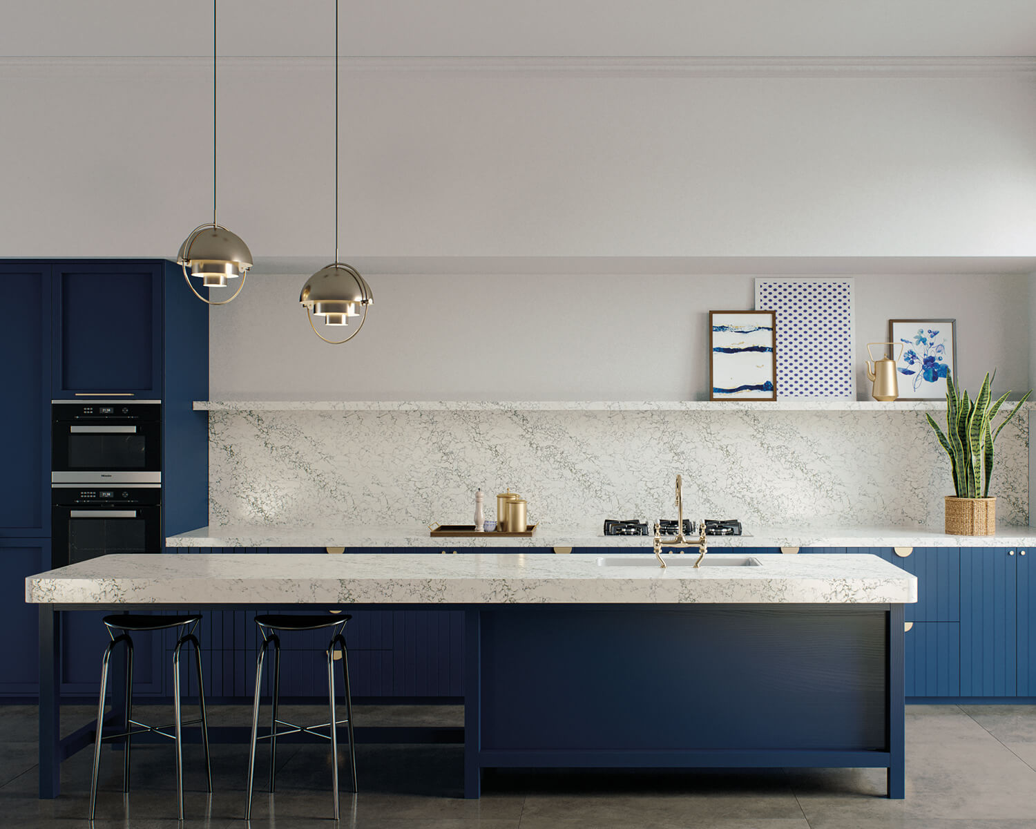Kitchen with blue island and cabinets, and white Caesarstone countertop and backsplash