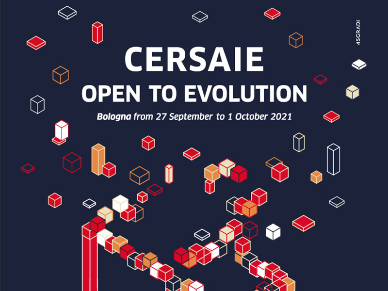 Text reads: Cersaie: Open to Evolution on navy background with red orange and white cubes
