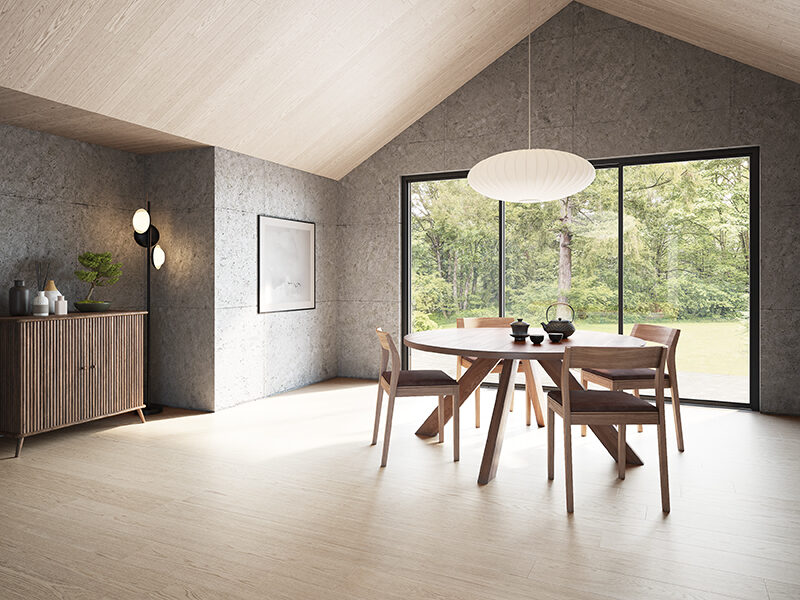 Dining room with grey walls, pitched oak ceiling, oak floors, wood dining table and chairs