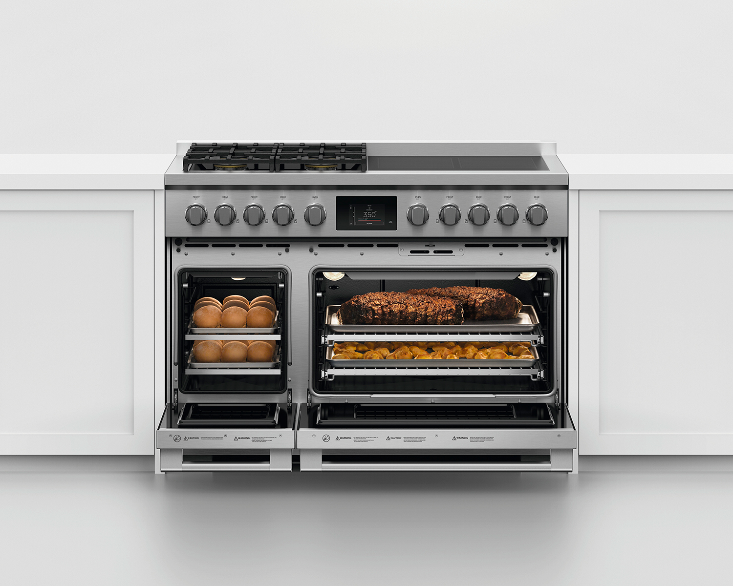 View of the range with the oven doors open