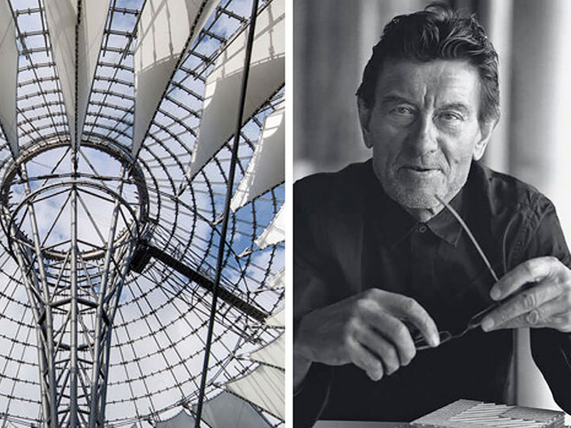 Left: Berlin Sony Center, Right:Black and white photo of Helmut Jahn